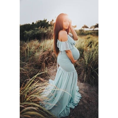 Mermaid Maternity Dresses for Photo Shoot with Sexy Off Shoulder - Lake blue / M