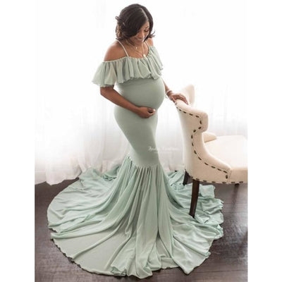 Mermaid Maternity Dresses for Photo Shoot with Sexy Off Shoulder - Mint green / XL