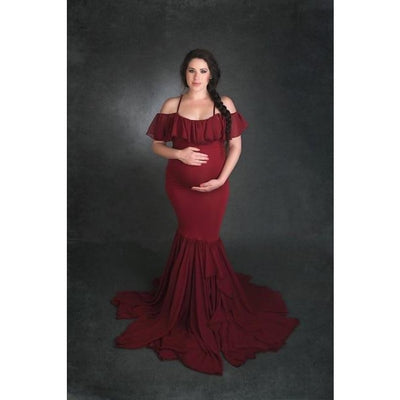Mermaid Maternity Dresses for Photo Shoot with Sexy Off Shoulder - Wine red / M