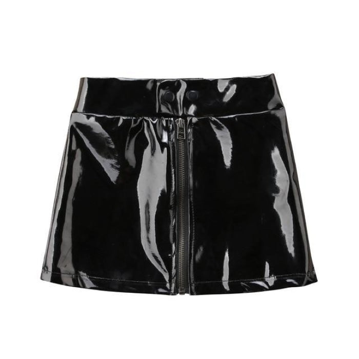 Mini Skirt Faux Leather Zipper Skirt for Girls