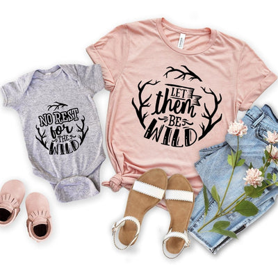 Mom Kids Sibling Matching Outfits Shirt Onesie Rest for Wild - New Born Onesie / Gray