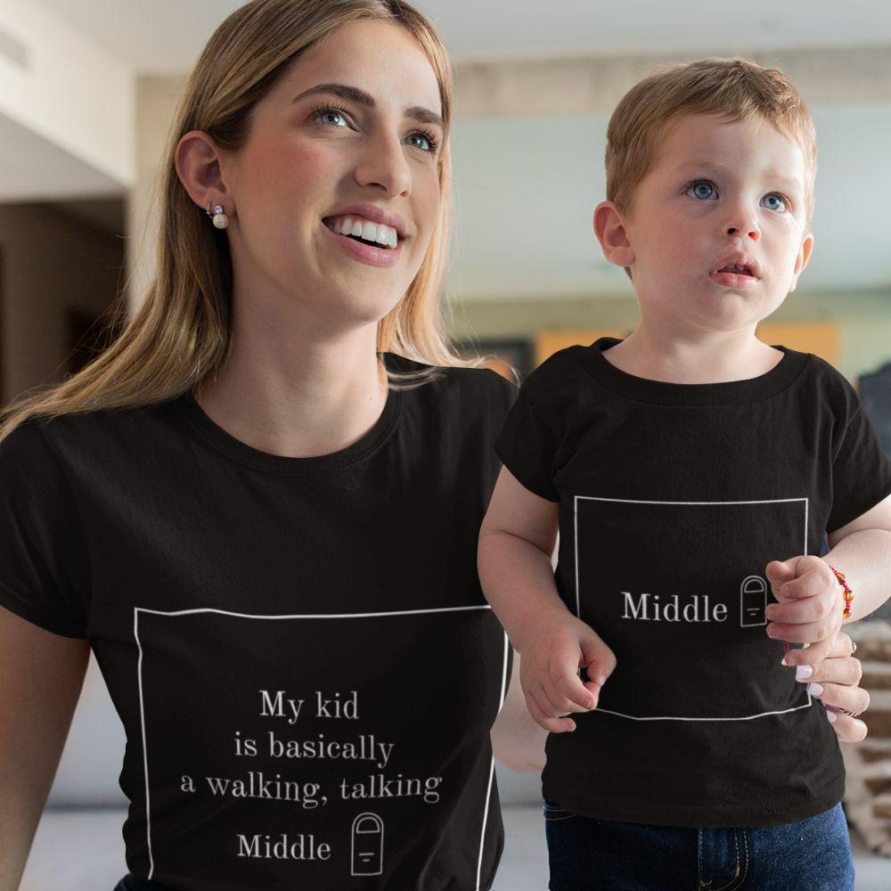 Mommy & Me Son Daughter Matching Funny Finger Shirts - black / Mom S