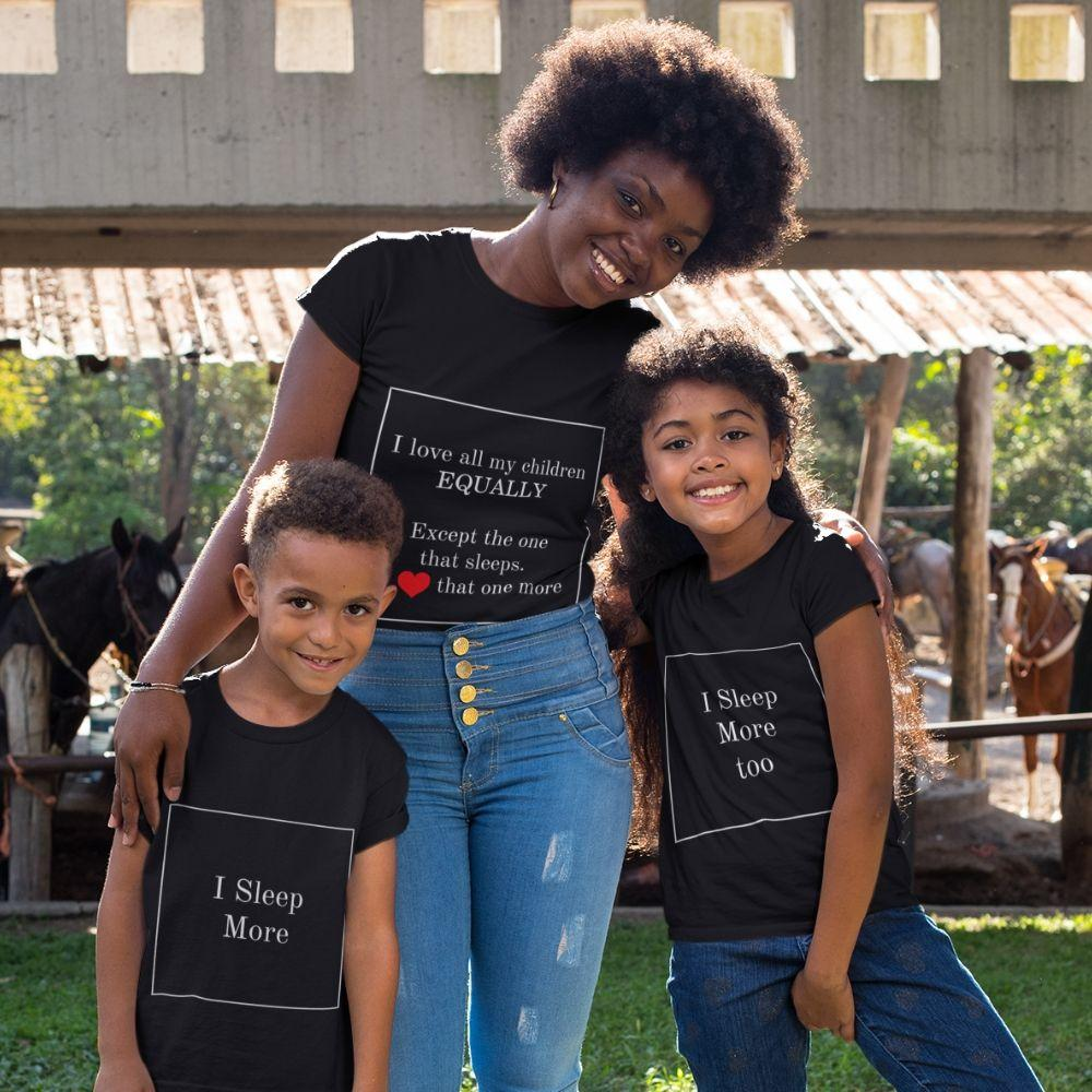 Mommy Son Daughter Matching Children Love Outfit Shirt - black / Mom S