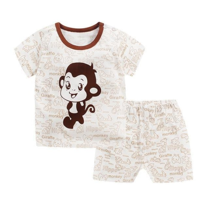 Monkey & Animals Cartoon Print Clothing Set Kids Unisex - Brown / 18-24 months