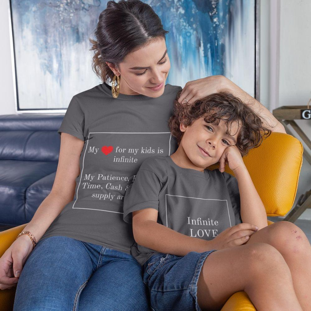 Mother and son daughter matching Shirt Infinite Love - charcoal / Mom S