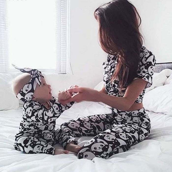 Mother Baby Kids Family Matching Clothes Set Panda Pajamas Sleepwear