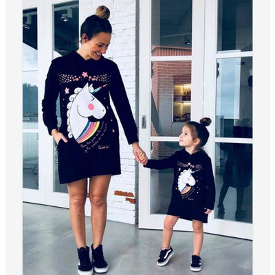 Mother Daughter Matching Oversized Sweatshirts with Cute Unicorn Print - Family Sweatdress / Mom M