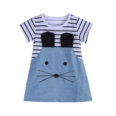 Mouse pattern Short sleeve Denim dress for Girls - Short Sleeve / 18-24 months