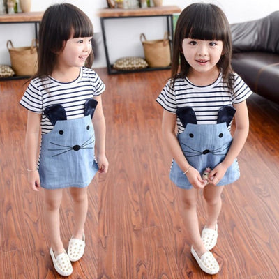 Mouse pattern Short sleeve Denim dress for Girls