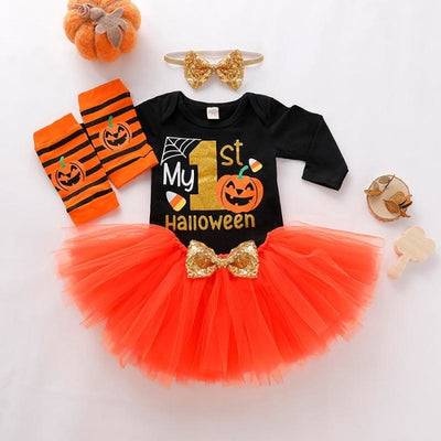 My First Halloween Romper Outfit for Baby Girl