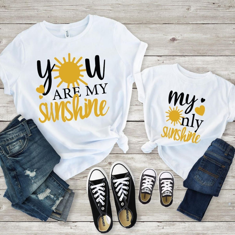 My Only sunshine Matching Shirts for Mom Daughter - 18-24 months Kid Shirt / White