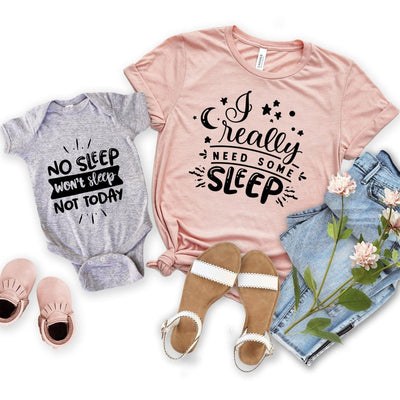 Need some sleep Mother daughter Matching Shirt Onesie - New Born Onesie / Gray