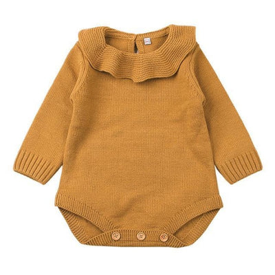 One Piece Long Sleeved Knitted Sweater for Newborn Baby Girl - Yellow / 4-6 months