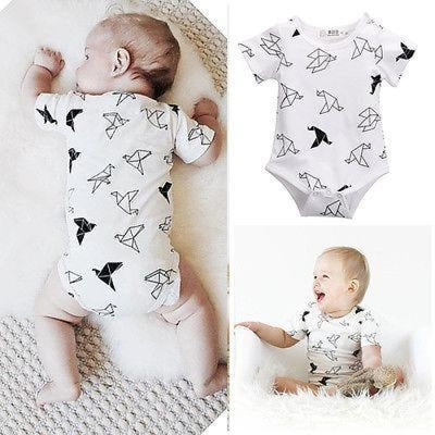 Origami Birds Unisex Bodysuit for Baby