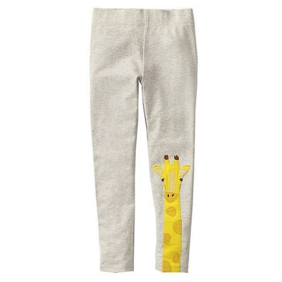 Pants Or Leggings with Cute Animal Applique For Girls - Cream / 2-3 years