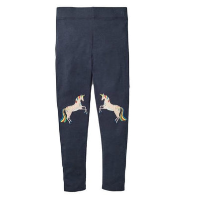 Pants Or Leggings with Cute Animal Applique For Girls - Dark Blue / 2-3 years