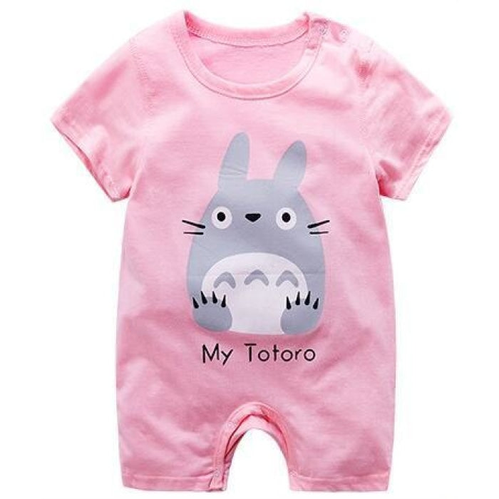 Pink Animal Cotton Bodysuit for Babies Unisex - Pink / 0-3 months