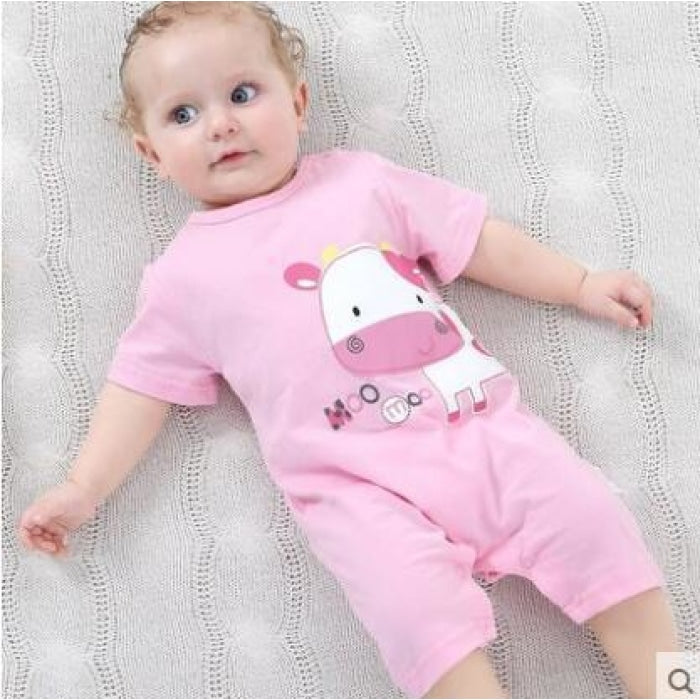 Pink Cow Cotton Bodysuit for Babies Unisex - pink / 0-3 months