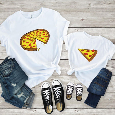 Pizza Slice Matching Shirts for Mom Daughter Son - Mom S Shirt / White
