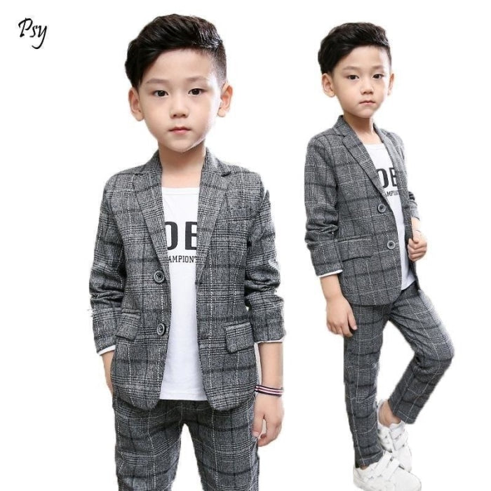 Plaid pattern Blazer Pant Set for Boys