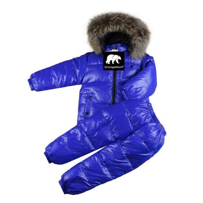 Plain Parka jackets Unisex snowwear coat - Blue / 4-5 years
