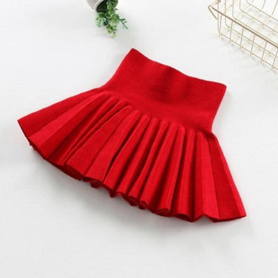 Pleated Wool Blend Skirt for Girls - Red / 18-24 months