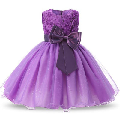 Polka Dot Costume Party Dress for Girls - Purple / 3-4 years