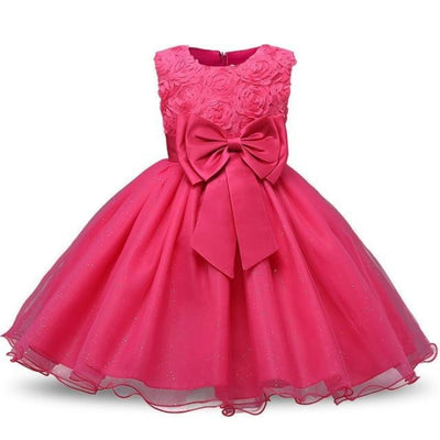 Polka Dot Costume Party Dress for Girls - Rose Red / 3-4 years
