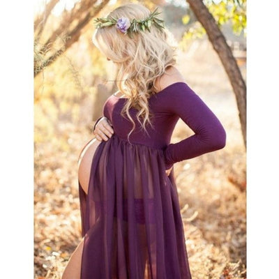 Pregnancy Maxi Chiffon Gown Dresses for Photography - Purple / S