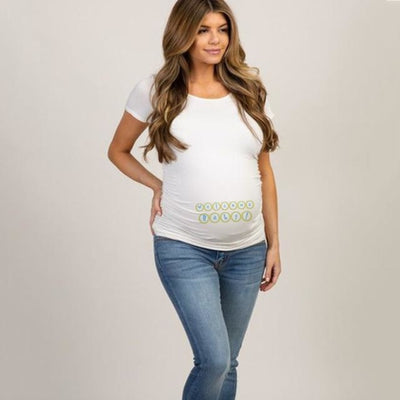 Pregnancy T-shirt Tops for Summer with Funny Cartoon Print & Short Sleeves - White 1 / XL