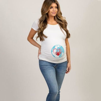 Pregnancy T-shirt Tops for Summer with Funny Cartoon Print & Short Sleeves - White 3 / M