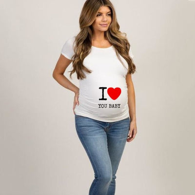 Pregnancy T-shirt Tops for Summer with Funny Cartoon Print & Short Sleeves - White 6 / L