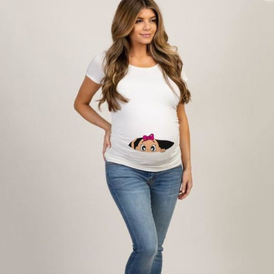 Pregnancy T-shirt Tops for Summer with Funny Cartoon Print & Short Sleeves - White 8 / S