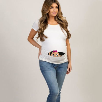 Pregnancy T-shirt Tops for Summer with Funny Cartoon Print & Short Sleeves