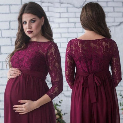 Pregnant Womans Dresses with Lace for Photo Shoot - Wine Red / L