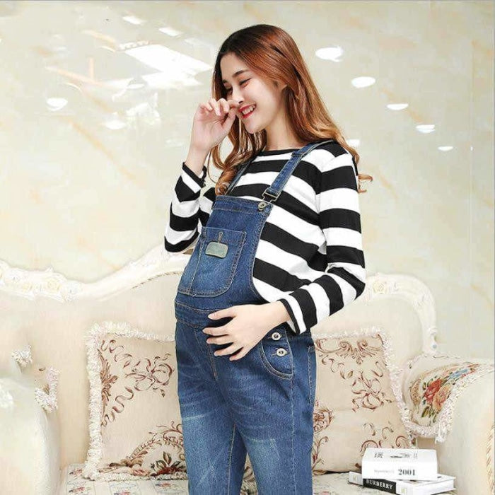 Pregnant Womens Denim Strap Trousers for Autumn & Winter