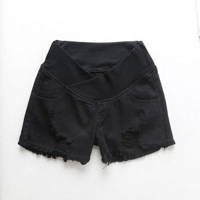 Pregnant Womens Low-waist Loose Denim Shorts for Summer - Black / M