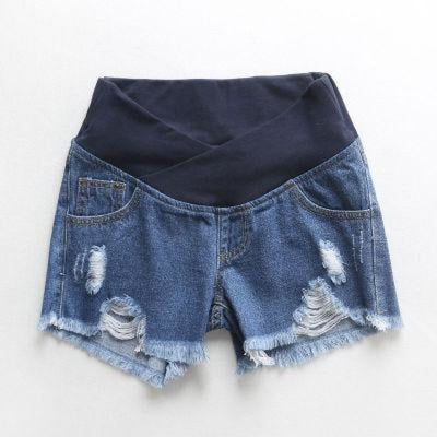 Pregnant Womens Low-waist Loose Denim Shorts for Summer - Blue / M