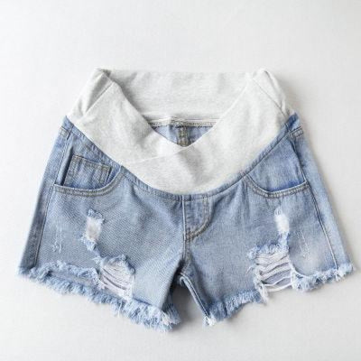 Pregnant Womens Low-waist Loose Denim Shorts for Summer - Sky blue / M
