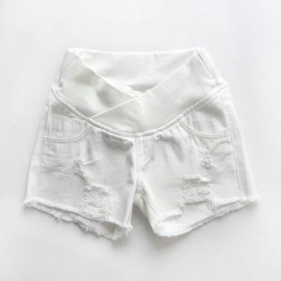 Pregnant Womens Low-waist Loose Denim Shorts for Summer - White / M