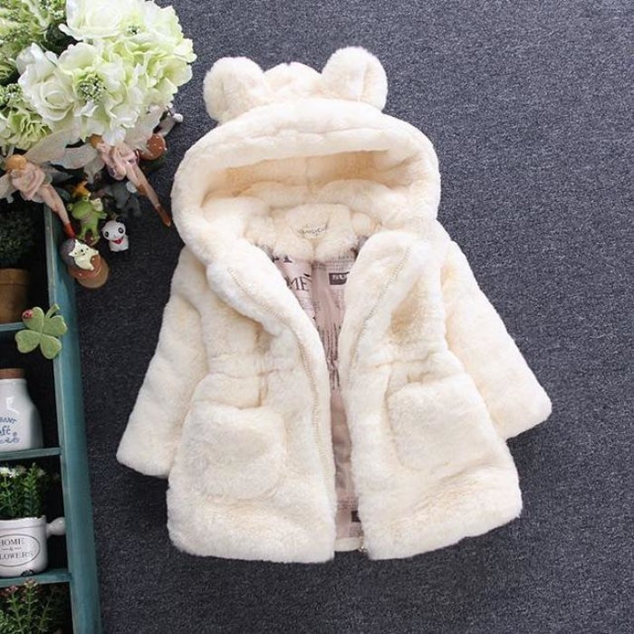 Pretty Bear Ears Winter Faux Fur Hooded Jacket Coat for Girls