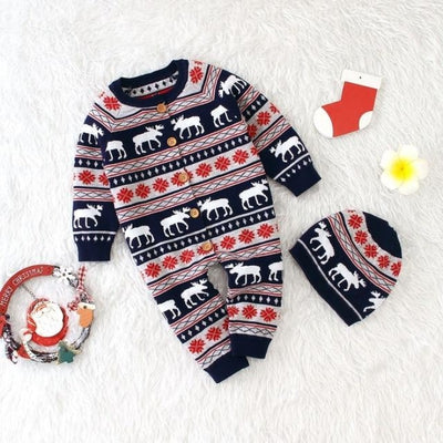 Pretty Christmas Reindeer Winter Jumpsuit for Babies Unisex - black / 18-24 months
