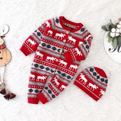 Pretty Christmas Reindeer Winter Jumpsuit for Babies Unisex - red / 18-24 months