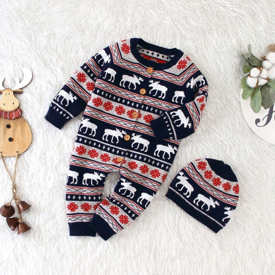 Pretty Christmas Reindeer Winter Jumpsuit for Babies Unisex