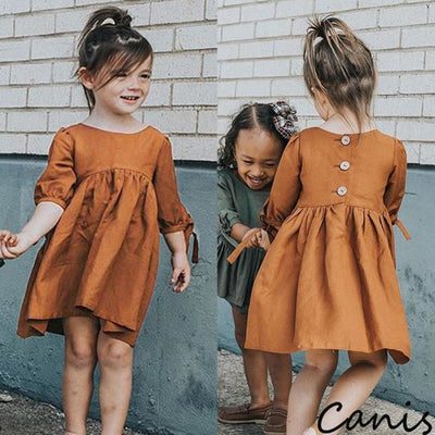 Pretty Half Sleeve Vintage Dress for Girl