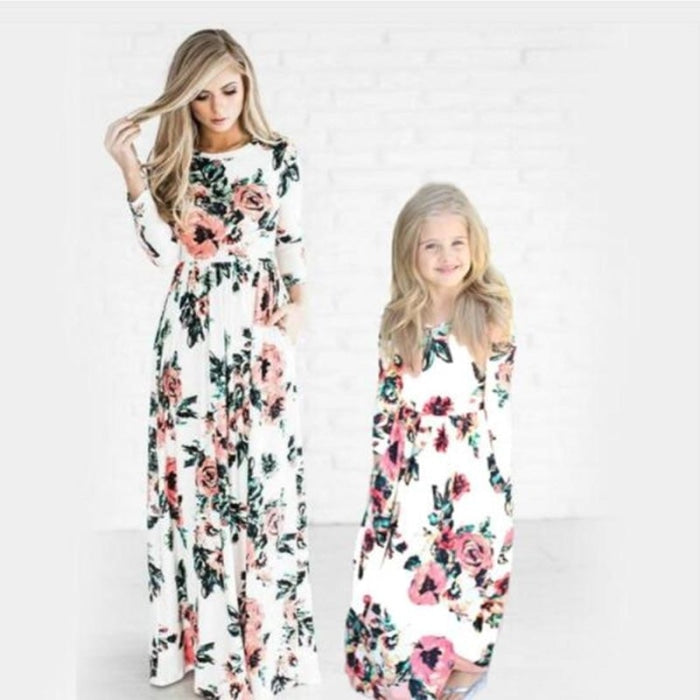 Pretty Long Floral Matching Dress for Mommy Daughter