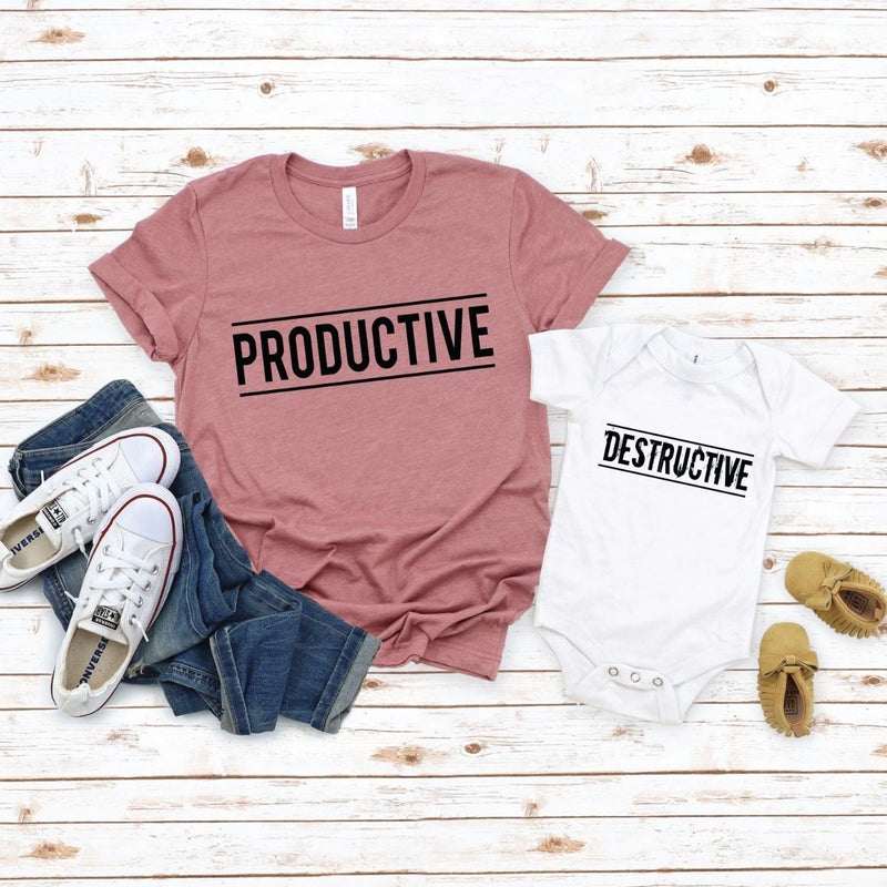 Productive Destructive Matching Shirts Onesie for Mom Kids - New Born Onesie / White
