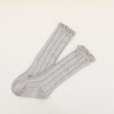 Pure Twist Knee high Fashion Cotton Socks stockings for girls - Gray / 0-1 year