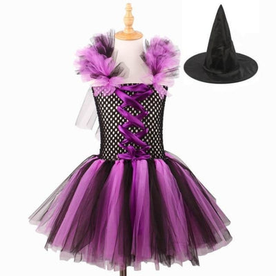 Purple Black Handmade Tutu Witch Dress with Hat - Purple Black / 5-6 years