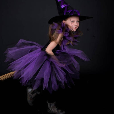 Purple Black Handmade Tutu Witch Dress with Hat
